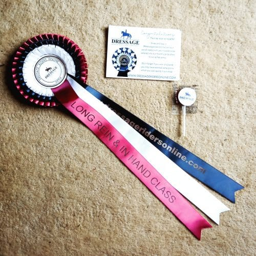 dressage riders online rosette for long reining competition